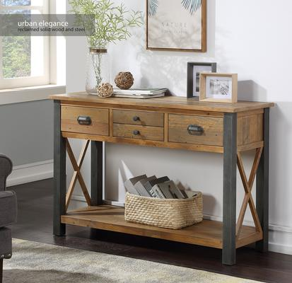 Urban Elegance Console Table 4 Drawer Reclaimed Wood and Aluminium