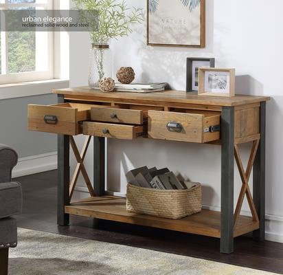 Urban Elegance Console Table 4 Drawer Reclaimed Wood and Aluminium image 2