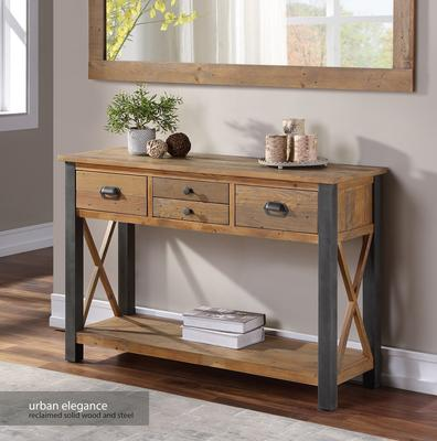 Urban Elegance Console Table 4 Drawer Reclaimed Wood and Aluminium image 3