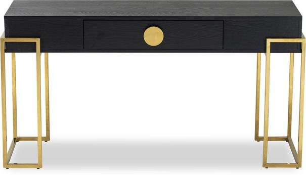 Paradigm Black Ash Console Table with Brass Frame