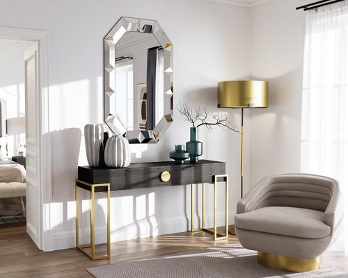 Paradigm Black Ash Console Table with Brass Frame image 6
