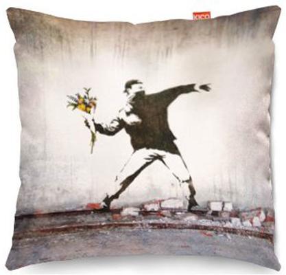 Banksy Thug Flowers Sofa Cushion