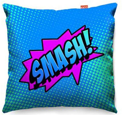 Comic Smash Blue Sofa Cushion