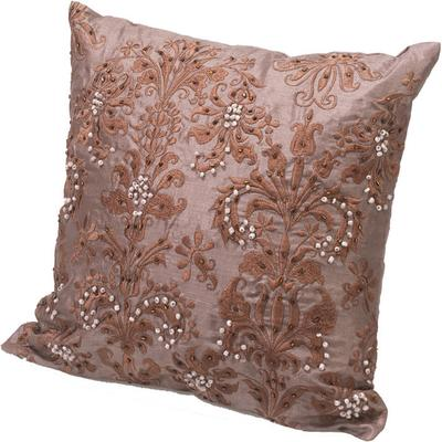 Beaded Cushion in Brown