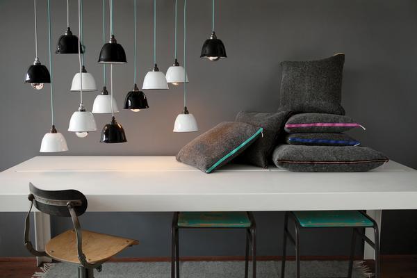 Pure wool felt cushion - Charcoal Grey & Copper image 3