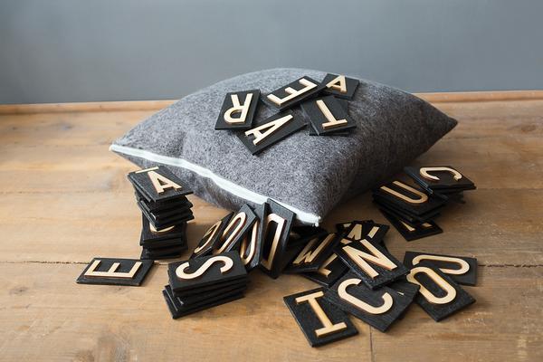 Pure wool felt cushion - Charcoal Grey & Copper image 4