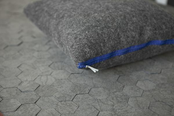 Pure wool felt cushion - Charcoal Grey - Coloured Zips image 2