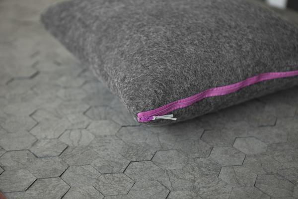 Pure wool felt cushion - Charcoal Grey - Multiple variations image 3
