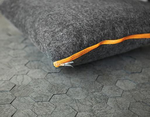 Pure wool felt cushion - Charcoal Grey - Coloured Zips image 6