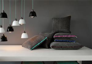 Pure wool felt cushion - Charcoal Grey - Coloured Zips