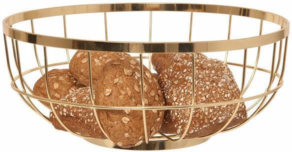 Present Time Open Grid Fruit Basket - Gold image 2