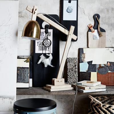 Wood and Wingnut Desk Lamp Contemporary