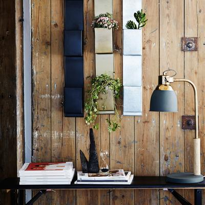 Nordic Desk Lamp Charcoal Shade with Brass Stand
