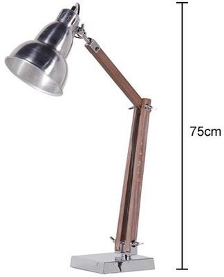 Shiny Nickel and Wood Retro Desk Lamp image 2