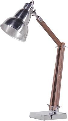 Shiny Nickel and Wood Retro Desk Lamp