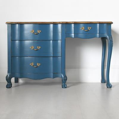French Blue Desk Four Drawers