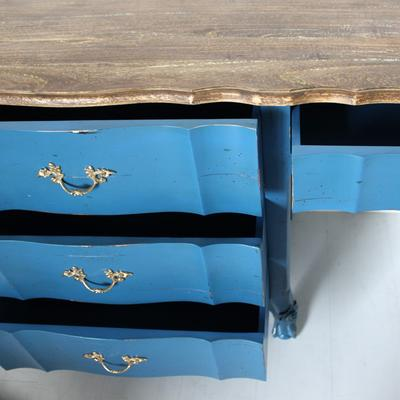 French Blue Desk Four Drawers image 4