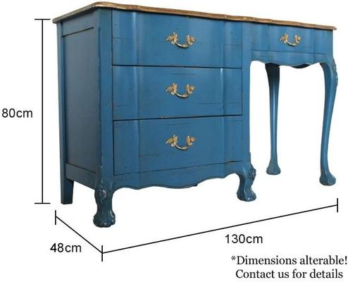 French Blue Desk Four Drawers image 5