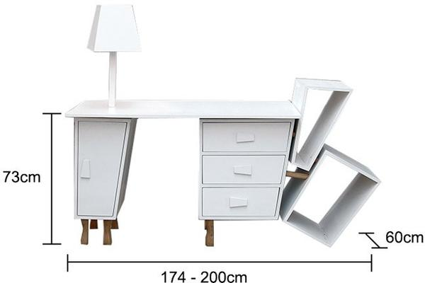 Deconstructed Extendable Desk White image 5