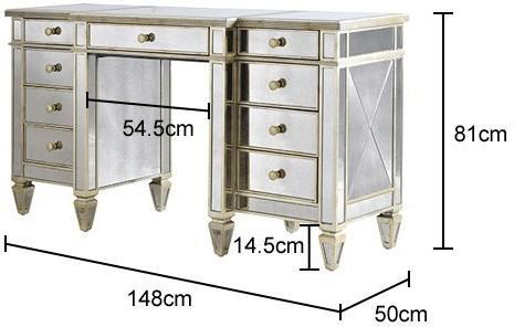 Antique Mirrored Keyhole Desk image 3