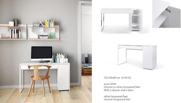 TemaHome Prado Minimalist Office Desk - Matt White Finish image 7