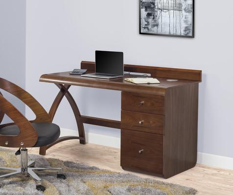Jual Retro Modern Pedestal Desk 3 Drawers PC601 - Walnut image 2