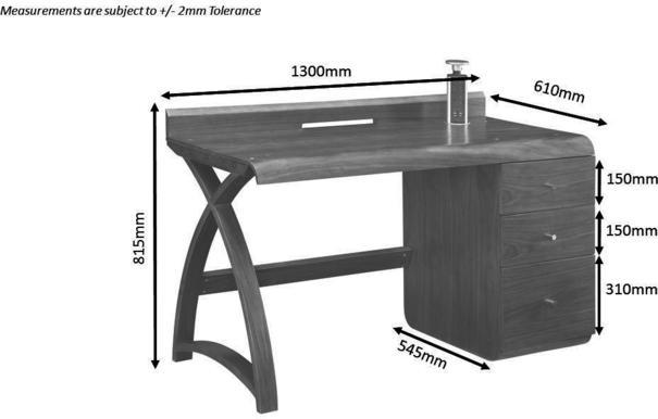Jual Retro Modern Pedestal Desk 3 Drawers PC601 - Walnut image 3