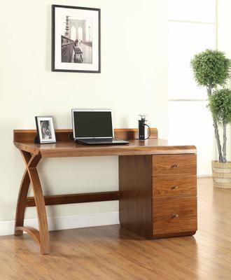 Jual Retro Modern Pedestal Desk 3 Drawers PC601 - Walnut image 4