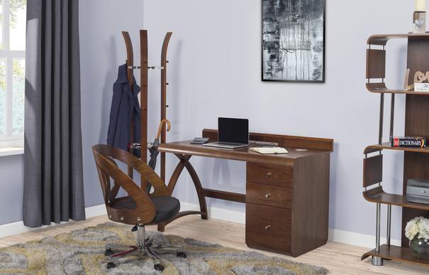 Jual Retro Modern Pedestal Desk 3 Drawers PC601 - Walnut image 8