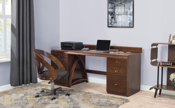 Jual Retro Modern Pedestal Desk 3 Drawers PC601 - Walnut image 9