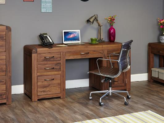 Shiro Walnut Twin Pedestal Desk