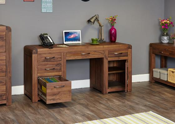 Shiro Walnut Twin Pedestal Desk image 2