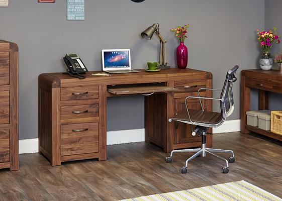 Shiro Walnut Twin Pedestal Desk image 3