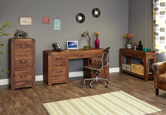 Shiro Walnut Twin Pedestal Desk image 5