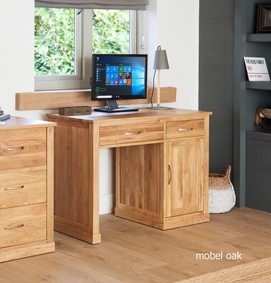 Mobel Oak Single Pedestal Modern Computer Desk image 2