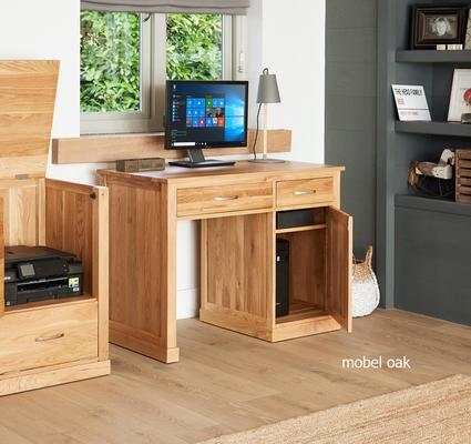 Mobel Oak Single Pedestal Modern Computer Desk image 3