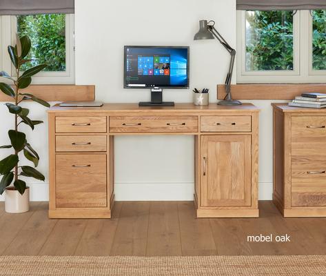 Mobel Solid Oak Modern Computer Desk Twin Pedestal image 2