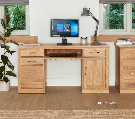 Mobel Solid Oak Modern Computer Desk Twin Pedestal image 3