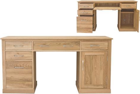 Mobel Solid Oak Modern Computer Desk Twin Pedestal image 6