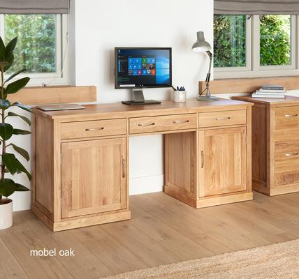 Mobel Solid Oak Large Hidden Office Twin Pedestal Desk