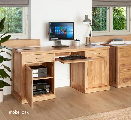 Mobel Solid Oak Large Hidden Office Twin Pedestal Desk image 3