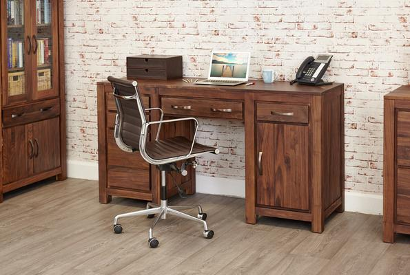Mayan Walnut Computer Desk Twin Pedestal Rustic