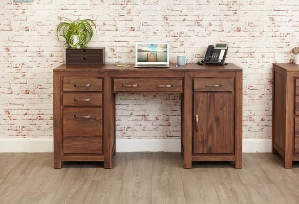Mayan Walnut Computer Desk Twin Pedestal Rustic image 2