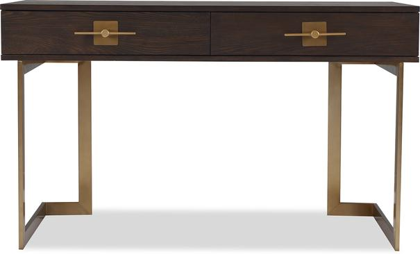 Ophir Dark Brown Oak and Brass Desk image 2