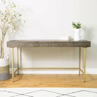 Fitzgerald Black And Gold Three Drawer Desk / Dressing Table