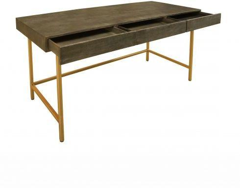 Fitzgerald Black And Gold Three Drawer Desk / Dressing Table image 4