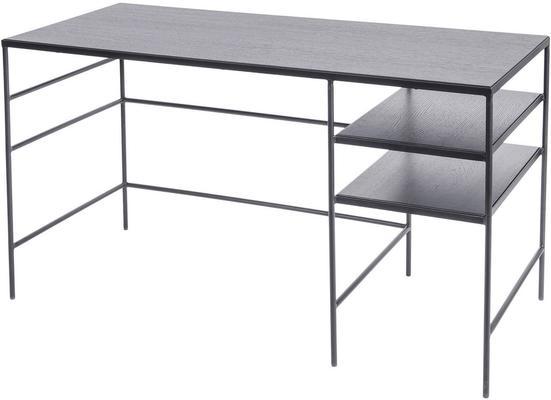 Chancery Black Ash Desk with Metal Frame