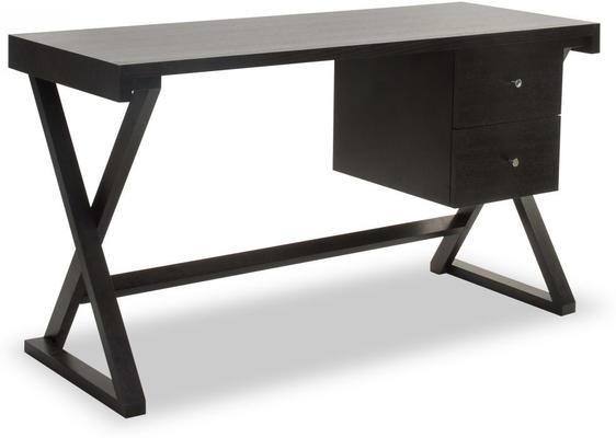 Manhattan Black Wenge Desk with 2 Drawers
