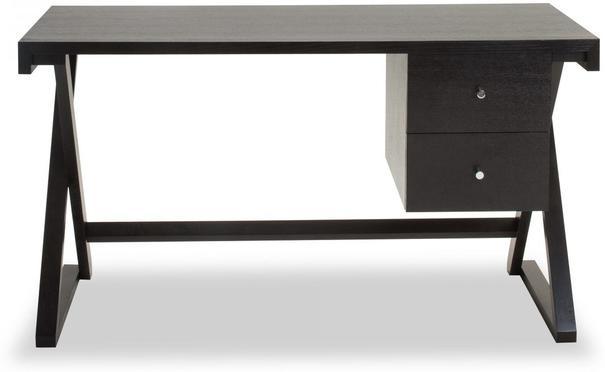 Manhattan Black Wenge Desk with 2 Drawers image 2