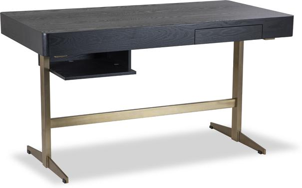 Omega Black Ash Desk One Drawer with Brass Frame